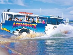 Aquaduck Safaris, Gold Coast - The utlimate adventure safari of the Gold Coast's famous waterways and landmarks, all on the world's first amphibious Aquaduck. For more info on Aquaduck Safaris go to www.queenslandholidays.com.au/destinations/gold-coast/things-to-see-and-do/aquaduck-safaris/index.cfm?cmpid=1996