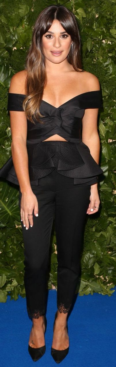 Who made  Lea Michele's black pumps, lace black pants, and cut out peplum top?