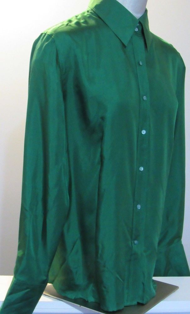 6b3d12bbd9a55 Ann Taylor Blouse XL Emerald Green Silk Long Sleeve Festive Office Dressy  GRUC  AnnTaylor  Blouse  Career