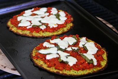 Recipe for Zucchini Crust Vegetarian Pizza Margherita (on the grill or in the oven) | Kalyn's Kitchen®