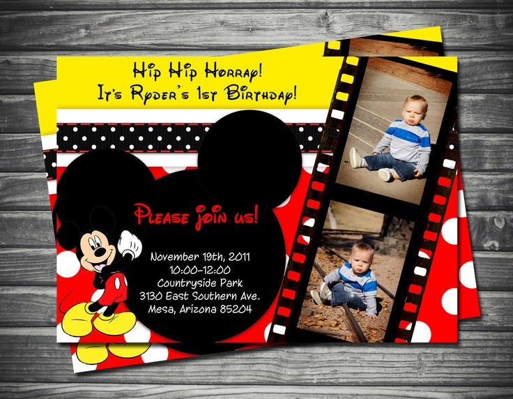 Mickey Mouse Birthday Invitation: Red & Yellow Polka Dots. $18.00, via Etsy.