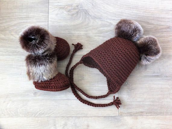 Brown Double pom pom hat and booties set  Crochet baby