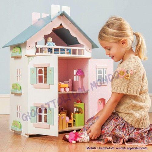Romantica casa delle bambole in legno a tre piani della casa inglese Le Toy Van