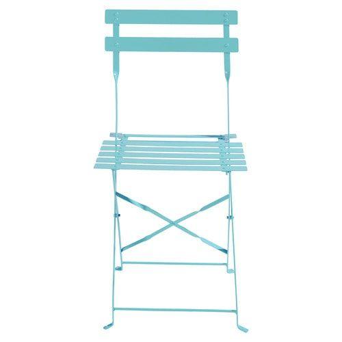 2 chaises pliantes de jardin en métal turquoise pl coloris MDM 50.00 LES 2