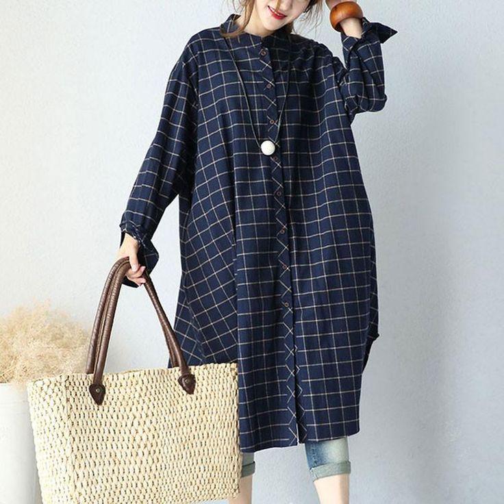 Cotton Casual Plaid Dress