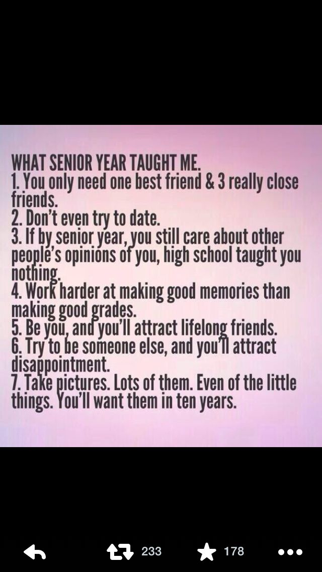Senior year. I don't agree with it All but most is true.