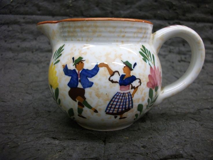 Vintage Alpine Peasant Ware Hand Painted Made In Germany Cream Pitcher 68 Vintage Antique