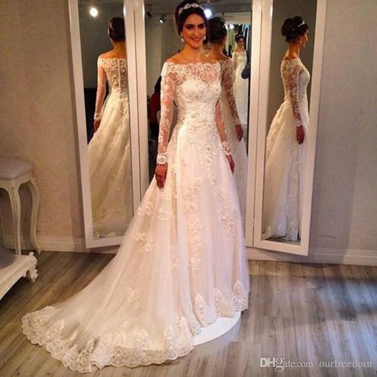 2017 Bateau Neck A Line Long Sleeve Wedding Dresses 2016 Tulle Appliques Lace Vestidos De Novia Zipper Up Court Train Robe De Mariage Wedding Gowns Cheap Bride Gown From Ourfreedom, $134.78| Dhgate.Com