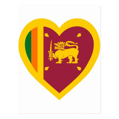 Sri Lanka Flag Heart Postcard Sri Lanka Flag Postcard Personalized Custom