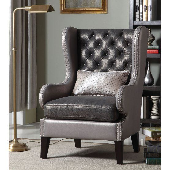 Fenton 2 Tone Shiny Faux Leather And Fabric Flashy Style Tufted Back Wing Accent Side Chair With Nail Head Trim