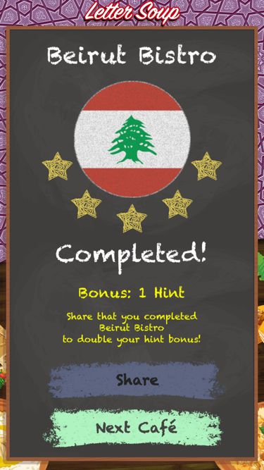 I just completed Beirut Bistro in Letter Soup!  Download FREE for iOS: LetterSoupCafe.com