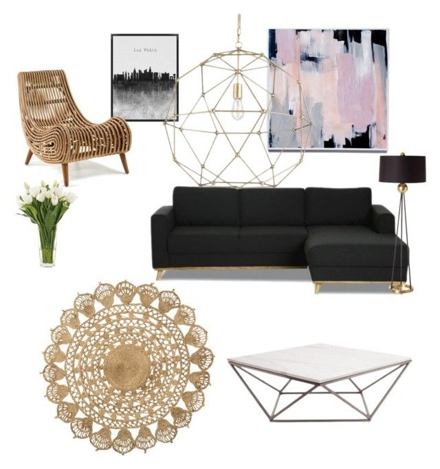 """""""Living Room"""" by libbyellmers on Polyvore featuring interior, interiors, interior design, home, home decor, interior decorating, H&M, DwellStudio, Arteriors and NDI"""