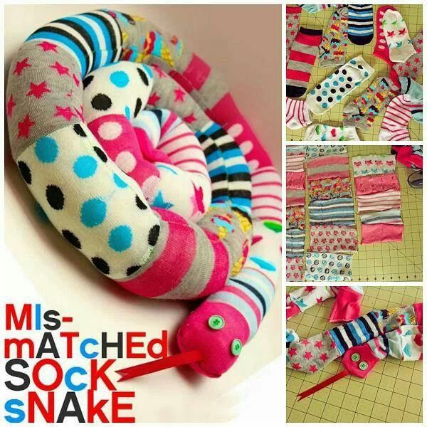 Sock Snake!   how to make ---> http://diycozyhome.com/mismatched-sock-snake-tutorial/    Here's a really cute sewing project to help you get through this long vacation LOL :) I am gonna head to the store and get some super fun socks right away... any of you ever made one of these slithery serpents??    ~Linda