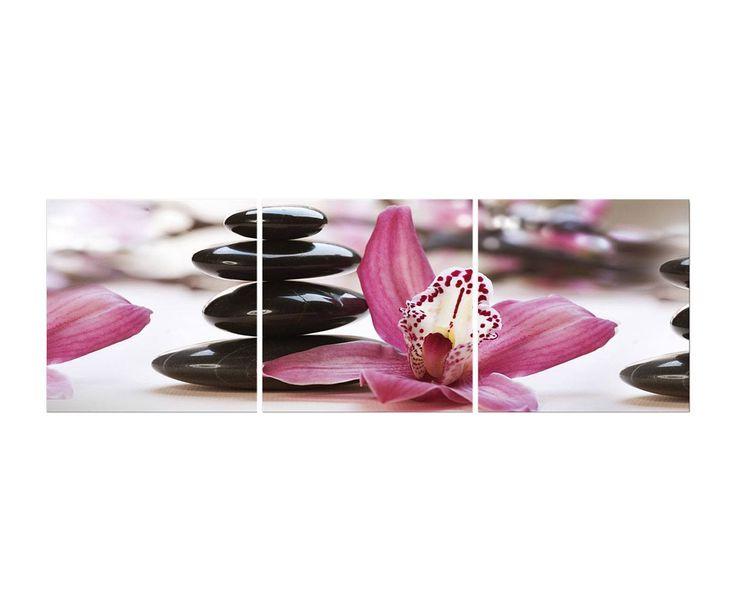 Composizione di 3 stampe su pannello orchidea viola, 150x50 cm