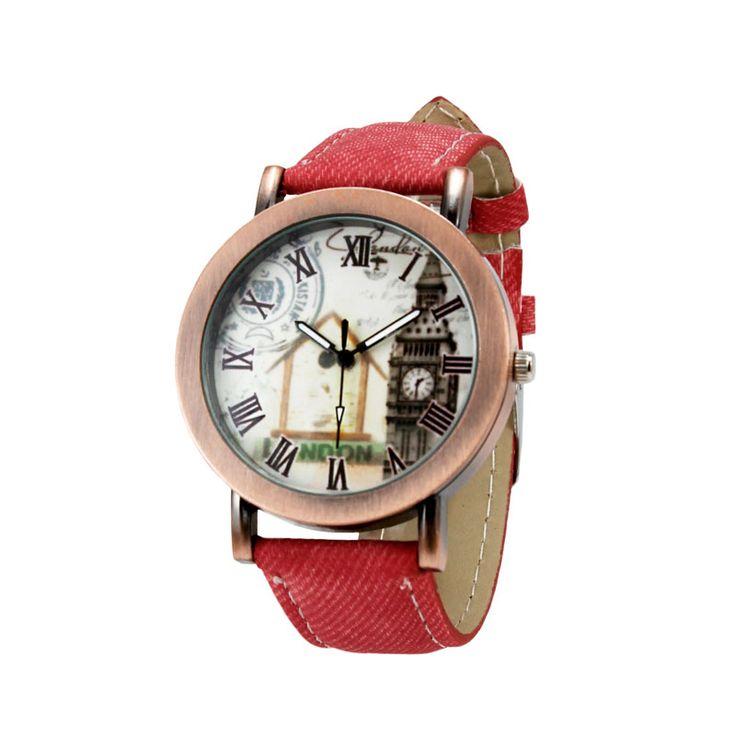 Jam Tangan Vintage Korea Merah   Fine Arloji