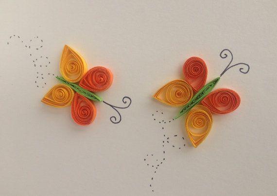 Gracias a mariposas naranja quilled, tarjeta de felicitación, tarjeta de cumpleaños, aniversario, tarjeta, primavera, insectos,