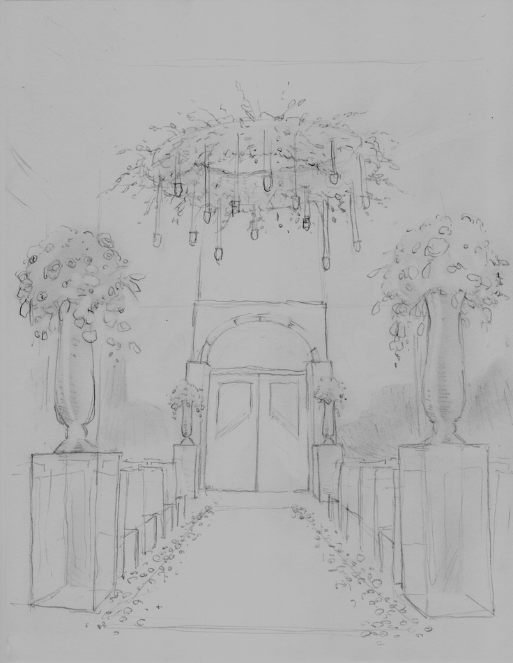 A sketch of the ceremony site—you can see the flower chandelier, the lucite boxes topped with tall florals, and the placement of everything in the ballroom.
