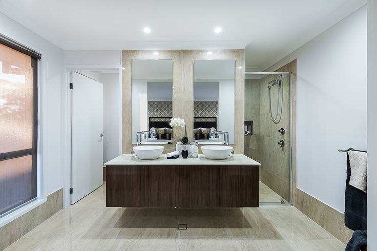 #Ensuite #design #ideas from Ausbuild's Newbury display #home. www.ausbuild.com.au. This #ensuite is spacious, with crisp #white #ceilings and a tucked away #shower.