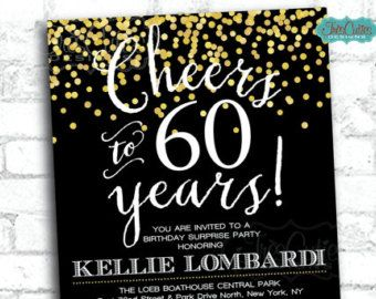 40th birthday invitation  Gold and Black Party  Printable