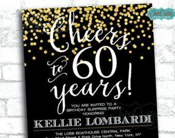 Cheers to 60 years - 60 birthday invitation - Gold Confetti Invitation - 80th…