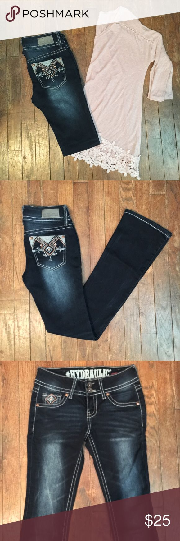 """NWOT Hydraulic Jeans Dark wash with factory fading on front and back. Boot cut with Aztec pattern on pockets. Double button front closure. Inseam is 31"""". Size 3/4 Juniors. NWOT Hydraulic Jeans Boot Cut"""