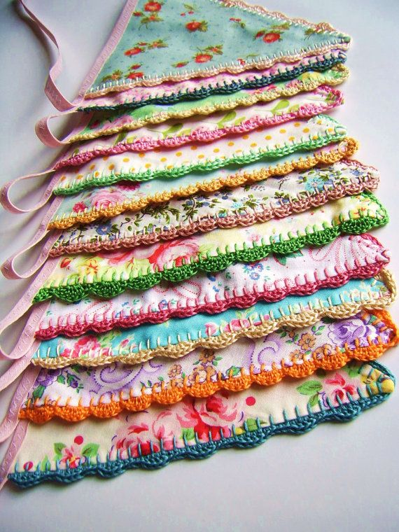 Fabric+bunting+flags+with+crochet+edging.+by+SillyOldSuitcase