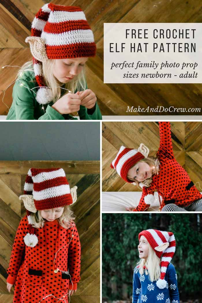 Make Santa proud with this free crochet elf hat pattern with ears! Crochet  one for each member of the family. Perfect family Christmas card photo idea. e7e153a3f27