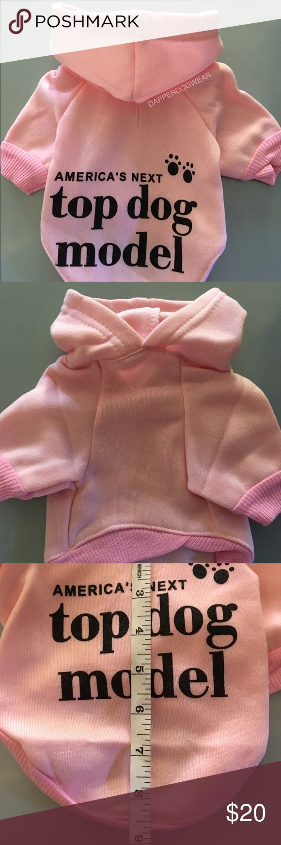 DOG CLOTHES sweater hoodie small Americas next top DOG MODEL   This cute little pullover sweater hoodie is perfect for winter/spring season. Walk your furbaby on her sidewalk runway. A hood protects her ears and face from the cold chilly winds. Sleeves to cover her arms with easy mobility. There's even a little slot for the HER leash to go through so you can walk her safely.  Do not assume sizes...please view picture provided for measurents. MACHINE WASH...hand dry. Shirts & Tops Sweatshirts…