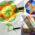 Draw Lesson The Flower of Life , working with a pair of compasses.✴⭐✴ Tekenles De Bloem van het Leven, maak je met je Passer (tekengereedschap)