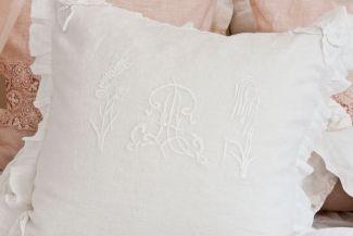 Leinen Kissenbezug Monogramm 60 cm x 60 cm