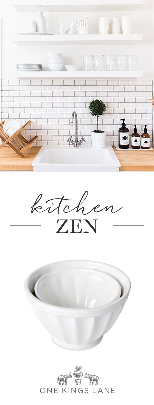 Want to breathe new life into your kitchen? Go for scaled back (not sterile) elements, like classic subway tile, sleek open shelving, milky white dishes, and touches of natural wood. Get the look on One Kings Lane.