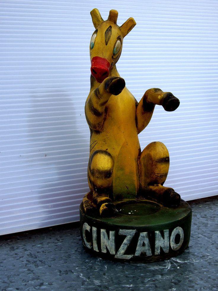 SUPERBE STATUE EN PLATRE PUBLICITÉ LE ZEBRE CINZANO 42 CM
