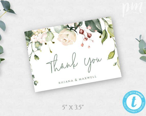 Greenery Thank You Card Template Floral Wedding Thank You Etsy Printable Thank You Cards Thank You Card Template Wedding Thank You Cards