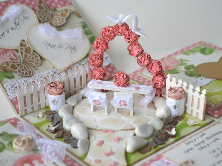 """The centerpiece of wedding exploding box """"Heart arch of roses""""."""