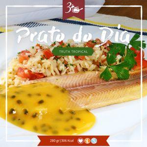 Delicioso filé de truta defumada ao molho de maracujá. Acompanha arroz incrementado com tomate e cebola. Imperdível! R$ 28,30… Compre no site. www.congeladosdasonia.com.br