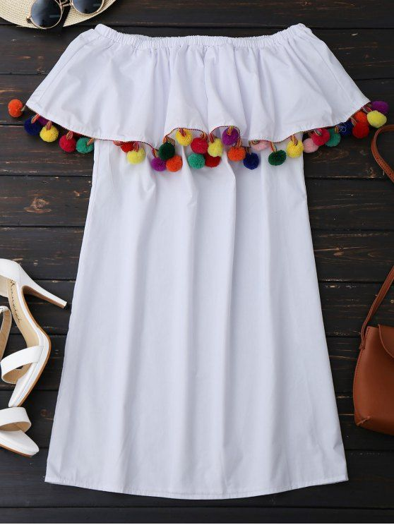 Ruffles Off Shoulder Mini Dress with Colorful Balls - WHITE S
