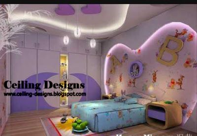 purple fall ceiling design for kids room