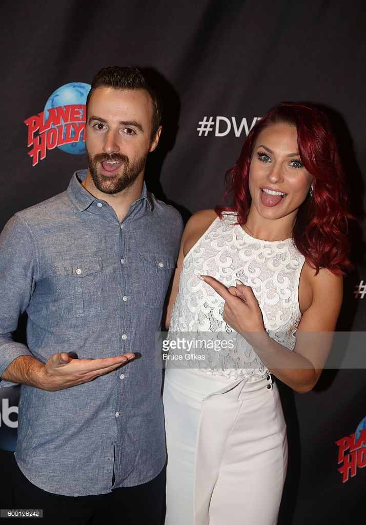 James Hinchcliffe and Sharna Burgess pose as Season 23 of 'Dancing With The Stars' meets the press at Planet Hollywood Times Square on September 7, 2016 in New York City. .