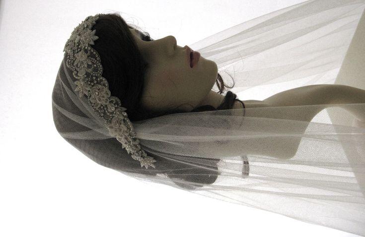 Vintage style veil -  couture bridal cap veil -1920s wedding  veil - Adorable. £185.00, via Etsy.
