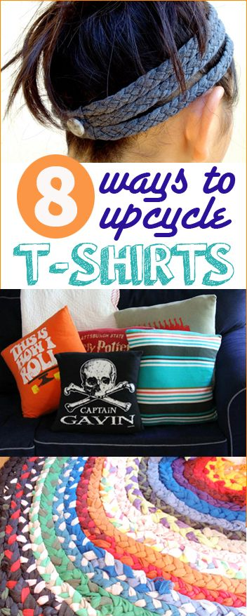 7 Ways to Upcycle T-Shirts.  Don't throw out old and worn shirts, put them to use with these stunning ideas.  Home decor using t-shirts.