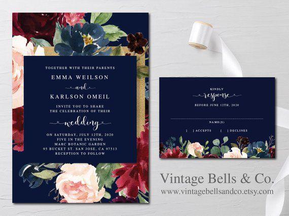 Floral Marsala Wedding Invitation Suite  Wedding Invite  Navy and Gold  Stationery  Flowers  Emma