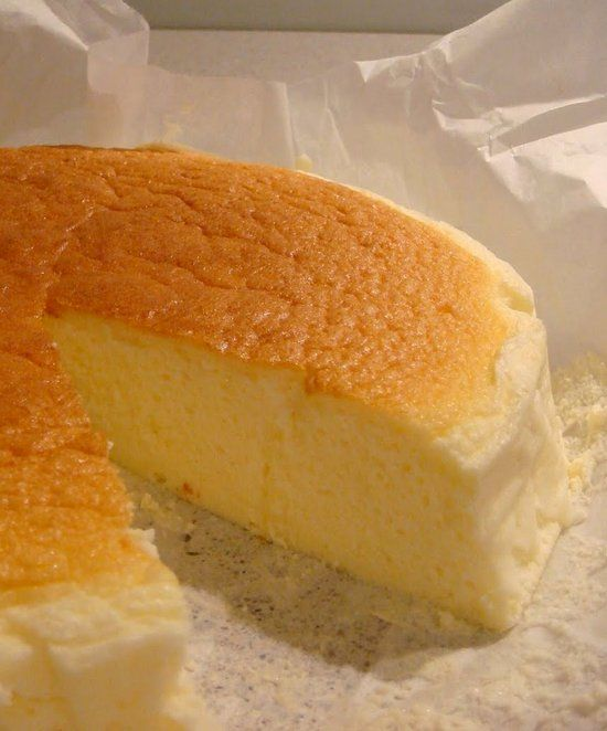 Japanese Cheesecake. This version is a even lighter version as it calls for less eggs and has a mousse-like texture as it is incredible light and fluffy! You'll love it!