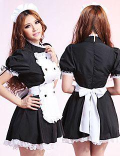 Doce Cindy preto e branco plissado Terno empregada doméstica de poliéster
