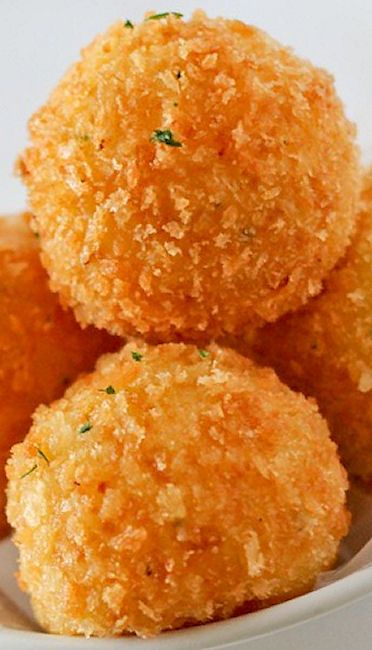 Cheddar Potato Balls Recipe loosk great but i shall bake, Place on a greased foil lined pan. Spray the ball with cooking spray then bake for 20 minutes for at 400 degrees.