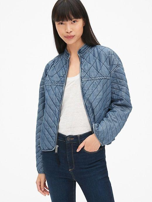 cabe8cc65 Gap Women's Quilted Denim Zip-Front Jacket In Tencel™ Medium Indigo ...