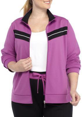 Kim Rogers Women's Plus Size Chevron Inset Zip Front Jacket - Violet/Black - 2X