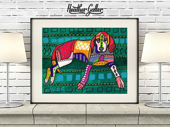 American English Coonhound Dog art dog Poster Print of painting by Heather Galler (Hg120)