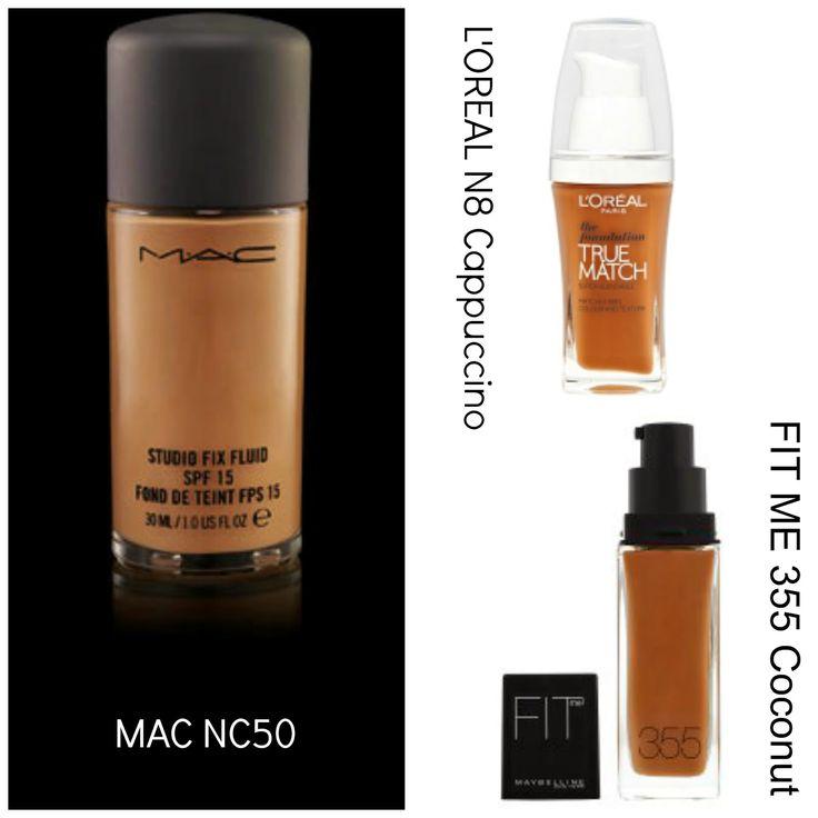 Mac studio fix foundation NC50 verses L'oreal true match in cappuccino N8 & Maybline fit me in coconut 355