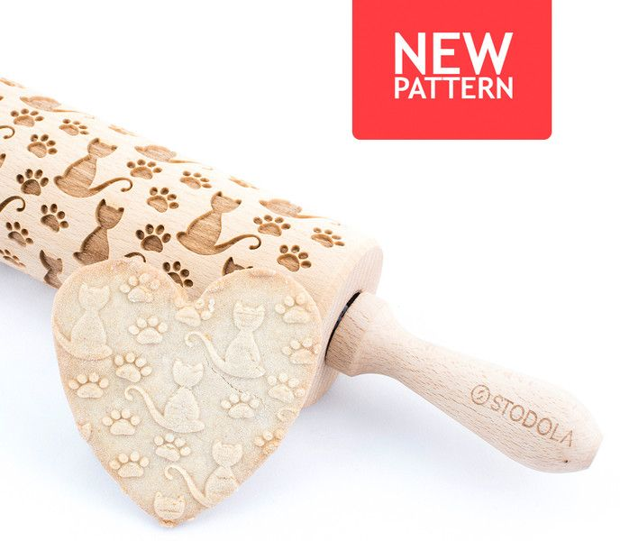 Baking Accessories – Loner cat - Engraved rolling pin for cookies – a unique product by Stodola on DaWanda