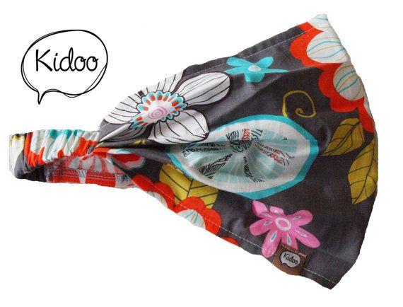 Gray with big flowers Headband Bandana Headscarf